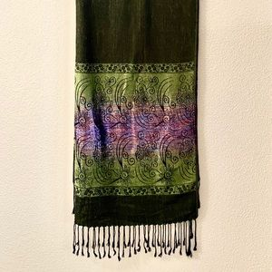 GREEN SHIMMERY PASHMINA SCARF